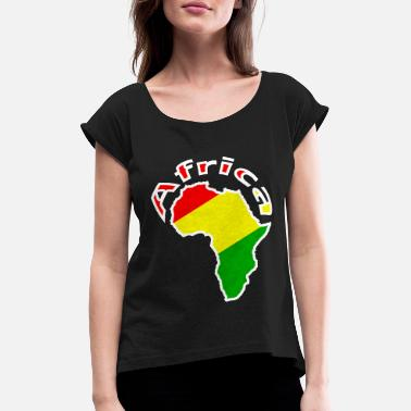 Green And Gold Africa - red gold green - Women's T-Shirt with rolled up sleeves