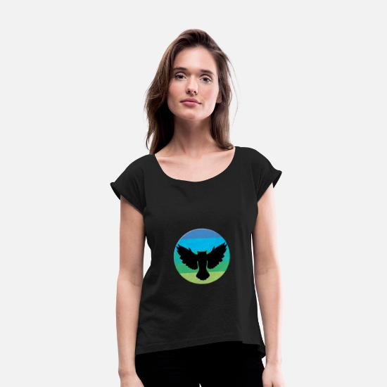 Fly T-Shirts - Flying birds - flying birds - Women's Rolled Sleeve T-Shirt black