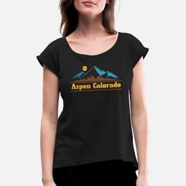 Aspen Native Colorado Gaver CO Pride State Flag Aspen - Dame T-shirt med rulleærmer