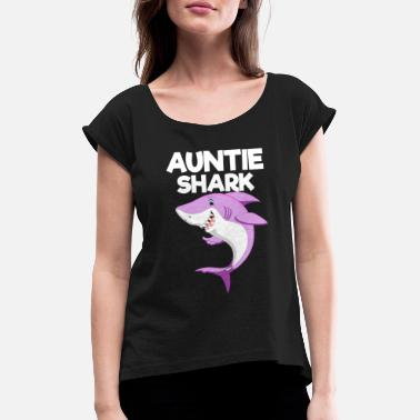 Auntie Auntie Shark - Matching Family Gift - Women's T-Shirt with rolled up sleeves
