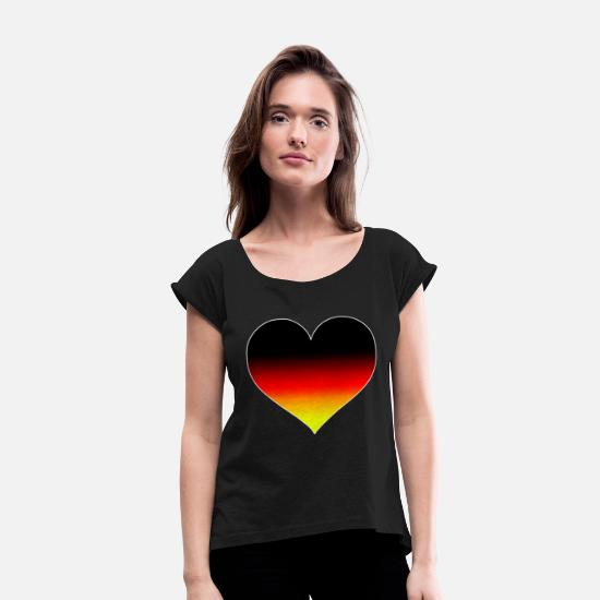 Flag Of Germany T-Shirts - Germany heart - Women's Rolled Sleeve T-Shirt black