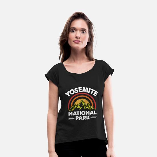National T-Shirts - Yosemite design for Women & Men - Women's Rolled Sleeve T-Shirt black