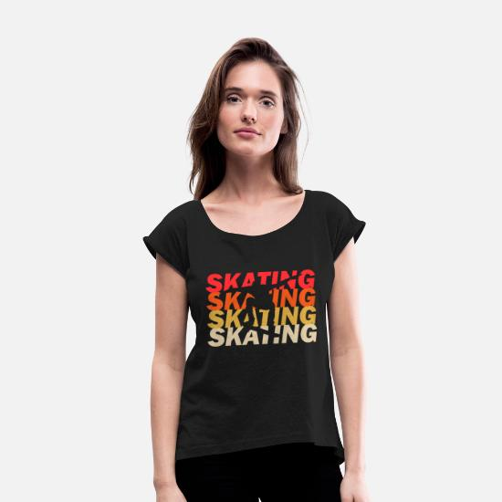 Sk8 T-Shirts - sk8ing - Women's Rolled Sleeve T-Shirt black