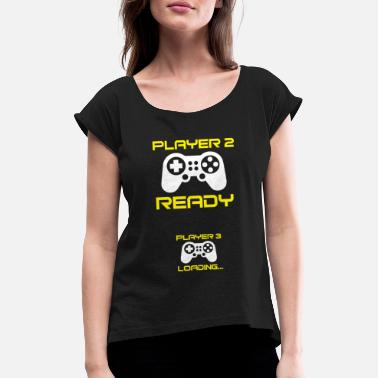 3 Player 2 ready, Player 3 loading - Pregnant Shirt - Women's Rolled Sleeve T-Shirt
