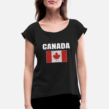 Canada Canadian National Flag Vintage Canada Country Gift - Women's Rolled Sleeve T-Shirt