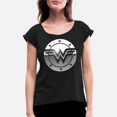 Filme DC Comics Originals Wonder Woman Retro Symbol - Frauen T-Shirt mit gerollten Ärmeln