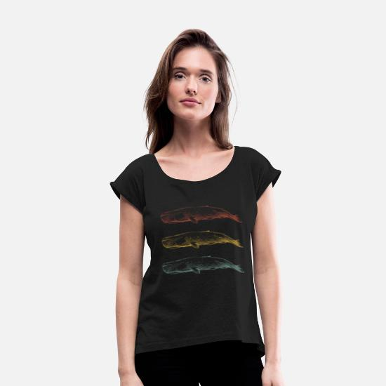 Gift Idea T-Shirts - Whale sperm whale gift - Women's Rolled Sleeve T-Shirt black