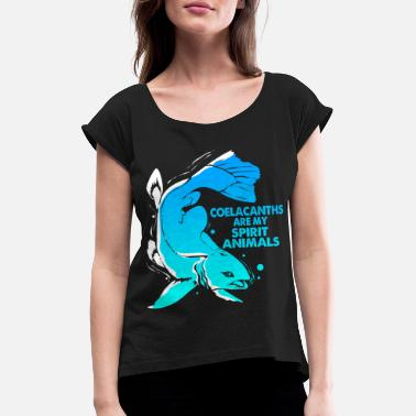 Spiritual Coelacanth Extinct fossil fish gift - Women's Rolled Sleeve T-Shirt