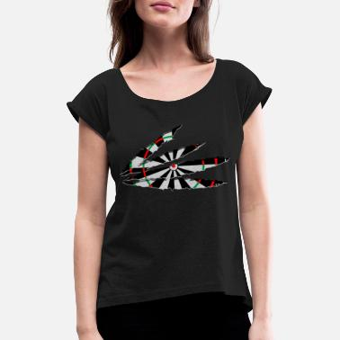 Tip Ripped Dartboard Darts Dart Player Gift Idea - Women's Rolled Sleeve T-Shirt
