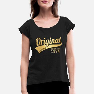 1974 74 Present Bday Birthday Present Gift - Women's Rolled Sleeve T-Shirt