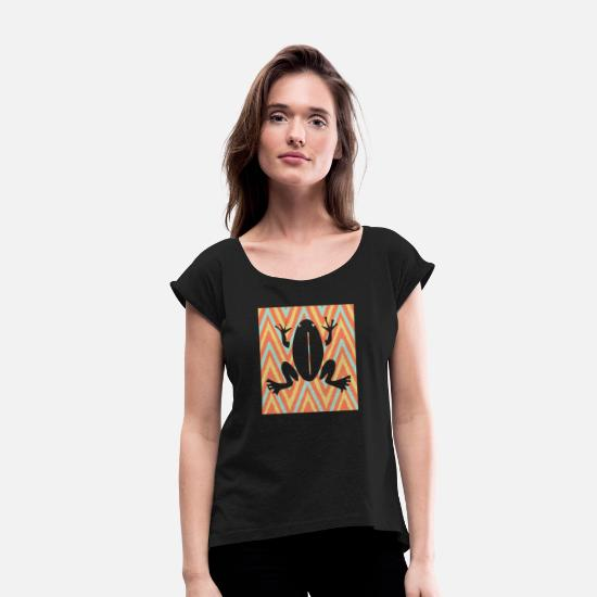 Gift Idea T-Shirts - Amphibian frog animal lover shirt - Women's Rolled Sleeve T-Shirt black