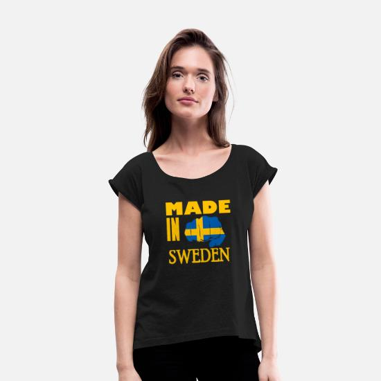 Stockholm T-Shirts - Sweden Scandinavia - Women's Rolled Sleeve T-Shirt black