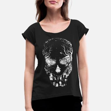 Graphic Art Skull head design graphic art - Women's Rolled Sleeve T-Shirt