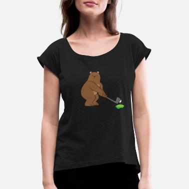 Caddy Golf - brown bear / grizzly with golf club - Women's Rolled Sleeve T-Shirt