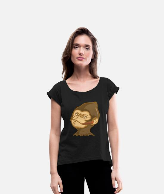 Easter T-Shirts - Smoking monkey monkey head cool monkey with cigar - Women's Rolled Sleeve T-Shirt black