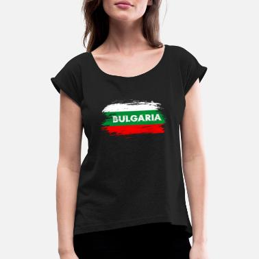 Burgas Bulgaria Flag / Gift Balkan Sofia Flag - Women's T-Shirt with rolled up sleeves