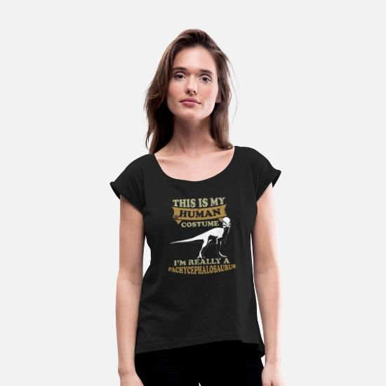 Gift Idea T-Shirts - I Am A Pachycephalosaurus - Women's Rolled Sleeve T-Shirt black