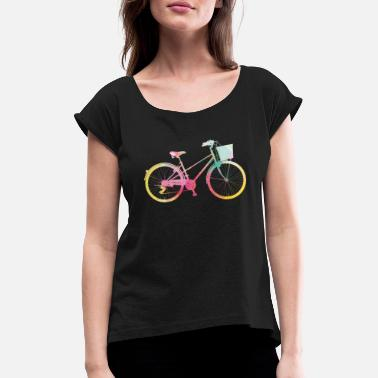 Cycling Women's bike with basket rainbow colors watercolors - Women's Rolled Sleeve T-Shirt