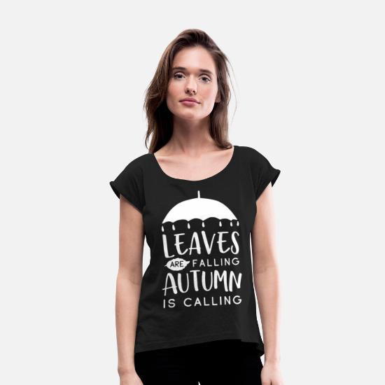 Autumn T-Shirts - Funny Rain Autumn Sweet Gift - Women's Rolled Sleeve T-Shirt black