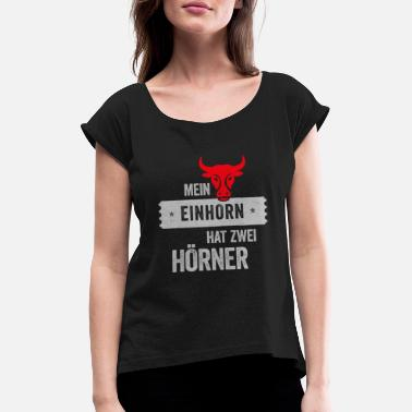 Cow Horns Cow with horns - Women's T-Shirt with rolled up sleeves