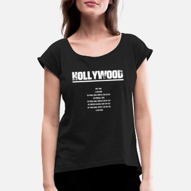 Hollywood Hollywood - Vrouwen T-shirt met opgerolde mouwen