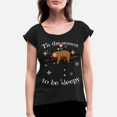 Sloth Late Sleepers Christmas Sleep Pigro - Maglietta da donna con risvolti