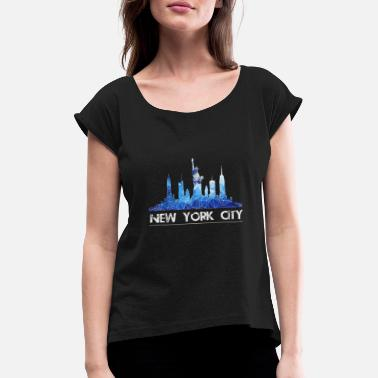 Nyc Skyline di New York in blu - Maglietta con risvolti donna