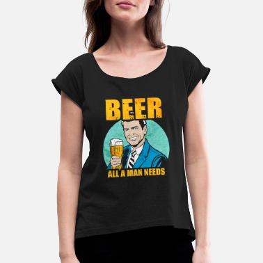 Beer Beer Drinking Party Drinking Flirt Funny Vintage - Women's Rolled Sleeve T-Shirt