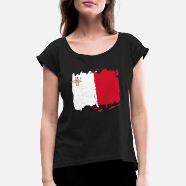 Bandiera Malta bandiera - Malta flag - Malta flag - Women's Rolled Sleeve T-Shirt