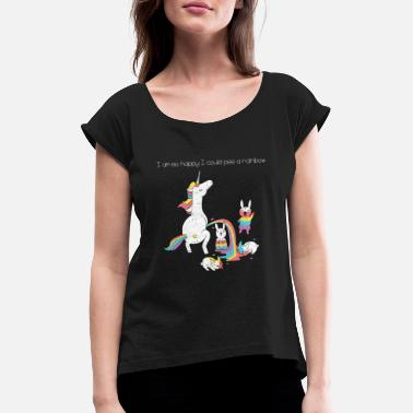 Pee Girls Unicorn Pee - Women's T-Shirt with rolled up sleeves