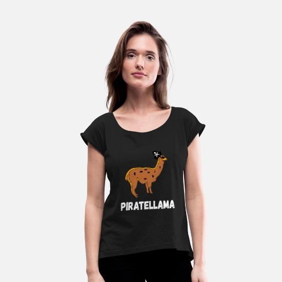 Gift Idea T-Shirts - Pirates Llama Alpaca Mariners Piracy Gifts - Women's Rolled Sleeve T-Shirt black