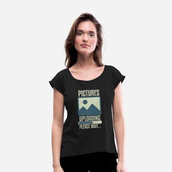 Birthday T-Shirts - Christmas Photography Gift SLR Lins - Women's Rolled Sleeve T-Shirt black