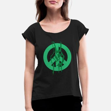Global Peace Peace Peace Peace Sign - Women's Rolled Sleeve T-Shirt