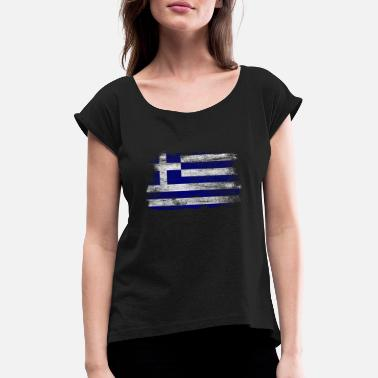 Greek Greece Greek flag gift Athens - Women's Rolled Sleeve T-Shirt
