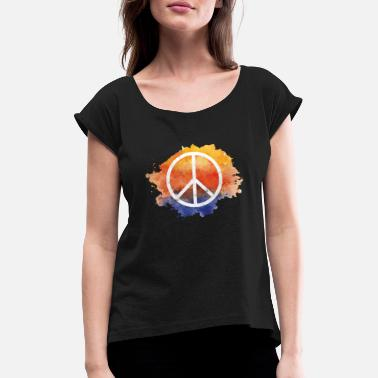 Symbols Symbol peace gift world peace hippie - Women's Rolled Sleeve T-Shirt