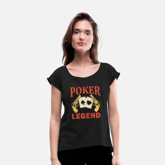 Vegas T-Shirts - Poker Gift Card Game Poker Rummy Canasta - Women's Rolled Sleeve T-Shirt black