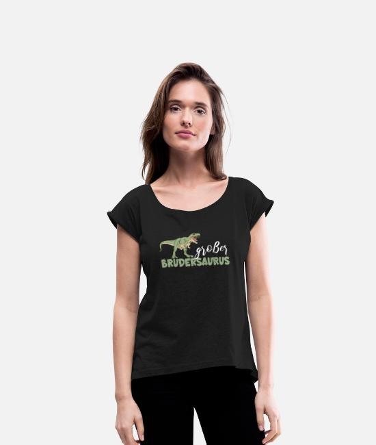 2019 T-Shirts - T Shirt Big Brother Dino Brothersaurus - Women's Rolled Sleeve T-Shirt black