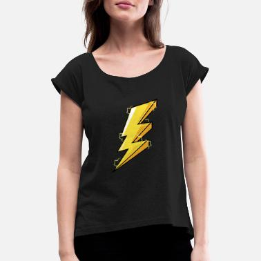 Graphic Design Lightning Storm graphic, Storm Thunder design, - Vrouwen T-shirt met opgerolde mouwen