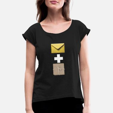 Composite Delivery Mail and parcel courier. Workshirt illustration - Women's Rolled Sleeve T-Shirt