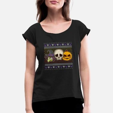 Pumpkin Skull Witch Costume Ugly Halloween - T-shirt med rulleærmer dame