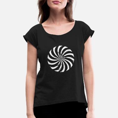 Sun, wheel, circle, abstract, symbol. logo - Women's Rolled Sleeve T-Shirt