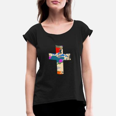 Jesus Symbol Cross camouflage - Women's Rolled Sleeve T-Shirt