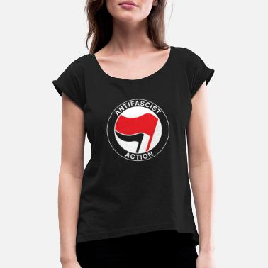 Antifascist Antifascist flag antifa - antiracism antifascist - Women's Rolled Sleeve T-Shirt