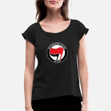 Antifaschist Antifaschistische Aktion Antifa Antifaschist - Frauen T-Shirt mit gerollten Ärmeln