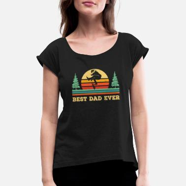 Longboard Best Dad Ever - Dad Skateboarding Shirt - Cool Ska - Women's Rolled Sleeve T-Shirt