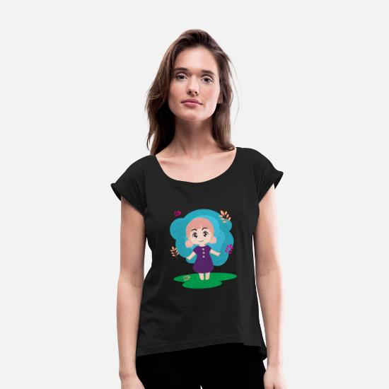 Chibi T-Shirts - Cute Chibi Female Shirt - Women's Rolled Sleeve T-Shirt black