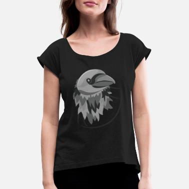 Elegant Bird Wings. Flying Farm Animal - Women's Rolled Sleeve T-Shirt