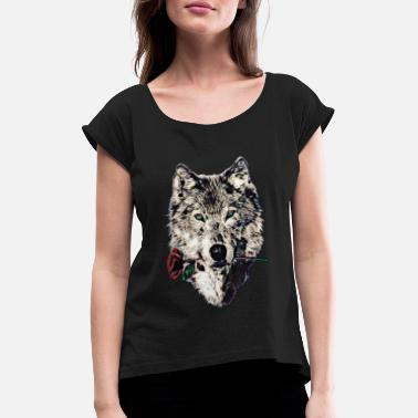 Rose Wolf, wolves, animal, wild, blue eyes, rose - Women's Rolled Sleeve T-Shirt