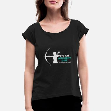 Recurve Recurve bow girl - Women's Rolled Sleeve T-Shirt
