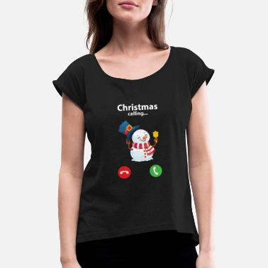 Christmas is Calling Cute Snowman Jingle Bell - Maglietta con risvolti donna